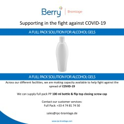 Supporting in the fight against COVID-19 with a full pack solution for alcohol gels
